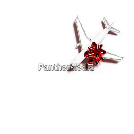 travel concept toy airplane gift wrapped