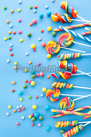 colorful sweets on a blue background