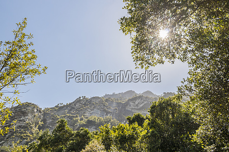 sunshine over the mountains in the