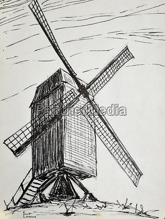 windmill outside of bruges belgium