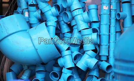 plastic blue sanitary fittings of different
