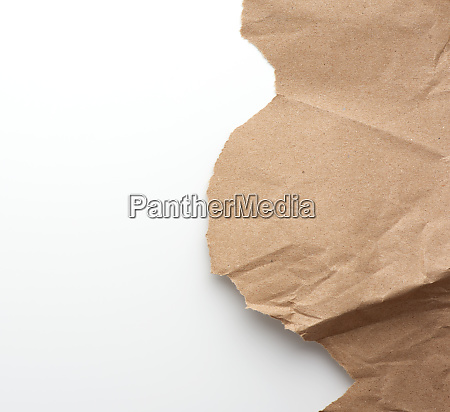 fragment of crumpled blank sheet of