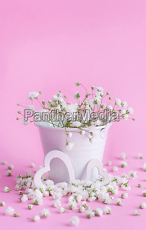 flowers in a bucket and hearts