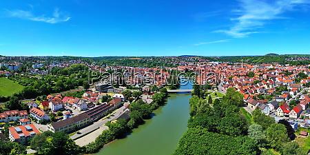 aerial view over rottenburg am neckar