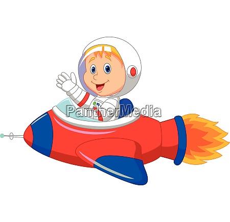 cartoon boy astronaut in the