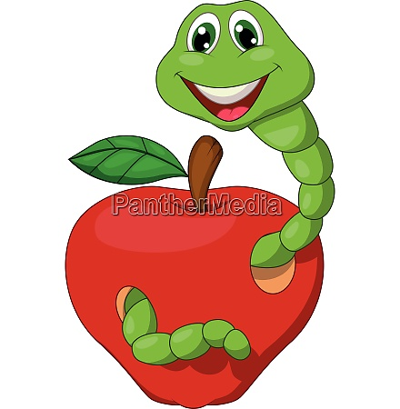 worm with red apple