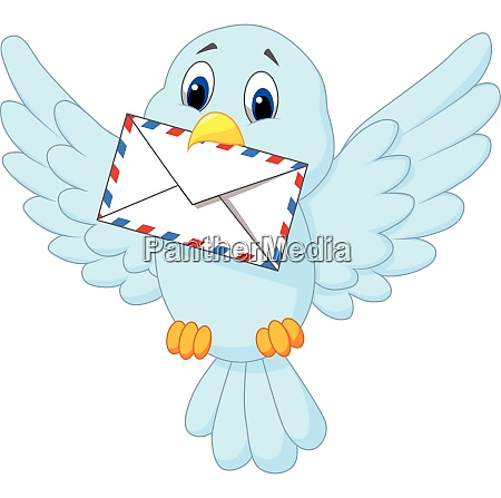 cartoon bird delivering letter
