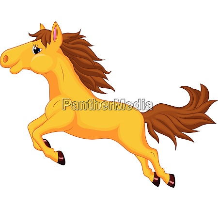 illustration of beautiful golden horse running