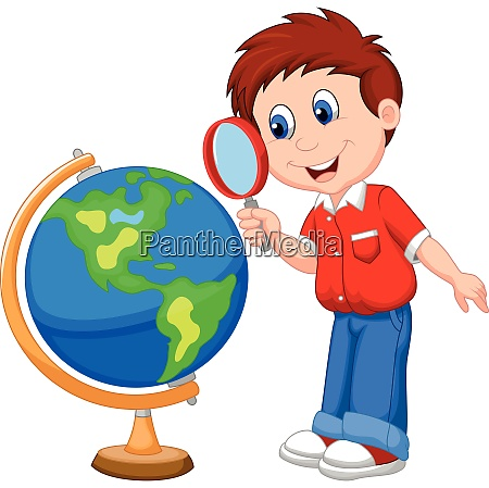 cartoon boy using magnifying glass looking