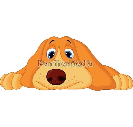 cute cartoon dog lying down