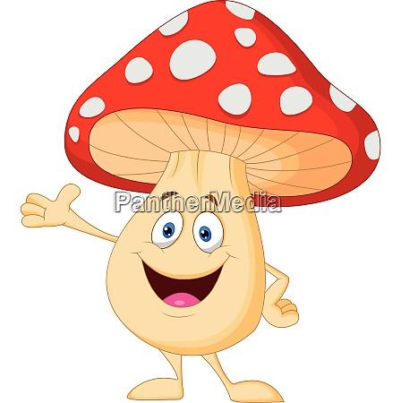 cute mushroom cartoon presenting