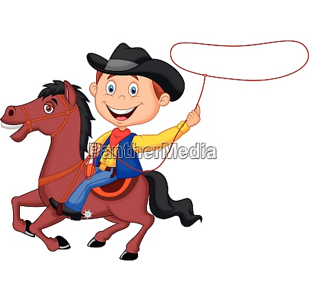 cowboy rider on the horse throwing