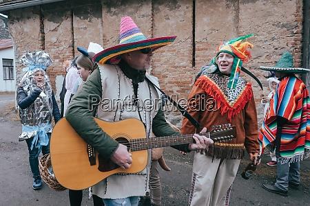 people attend the slavic carnival masopust