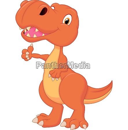 dinosaur cartoon giving thumb up