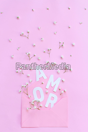 flowers pink envelope and word amor