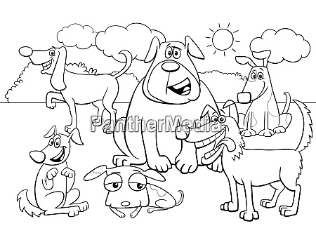 cartoon dog characters group color book
