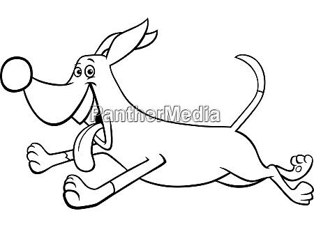 cartoon running dog character coloring book