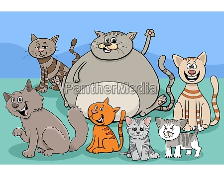 cats and kittens group cartoon illustration