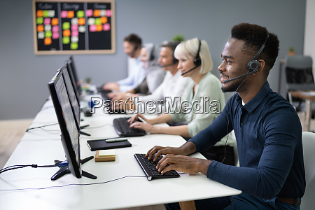 male customer services agent in call