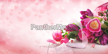 pink tulips and hearts for mothers