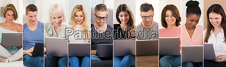people shopping on laptops collage