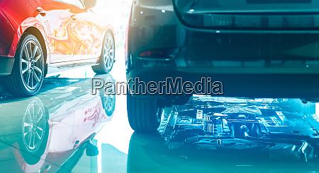 closeup chassis shaft muffler of car