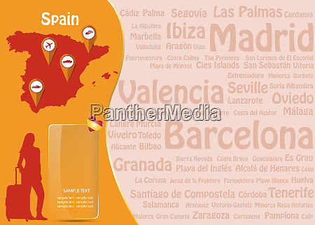 travel to spain template vector with
