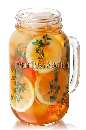 iced thyme lemon tea jar paths