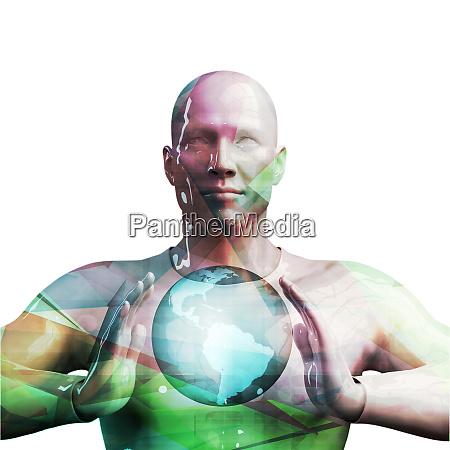 black business man holding globe