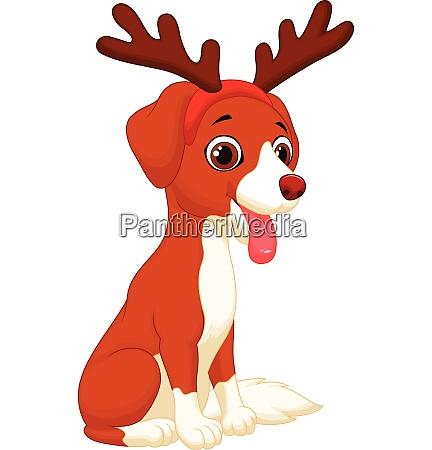 dog wearing christmas reindeer
