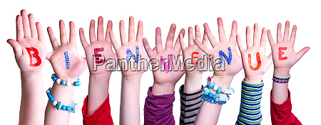 children hands building word bienvenue means