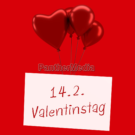 shiny red balloons with a valentines
