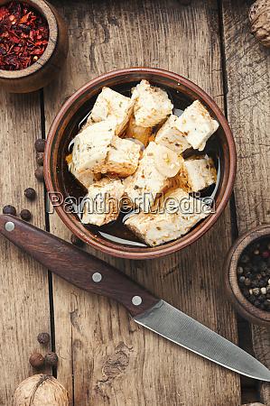homemade feta cheese with herbs
