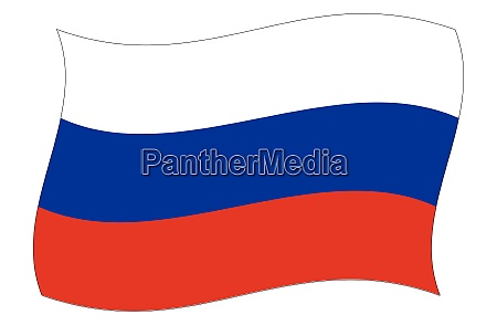 waving russian flag in red white