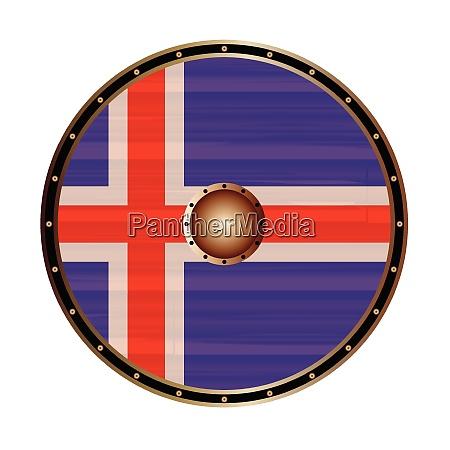 round viking style shield with icelandic