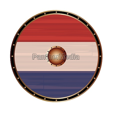 round viking style shield with netherlands