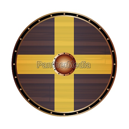 round viking style shield with saint