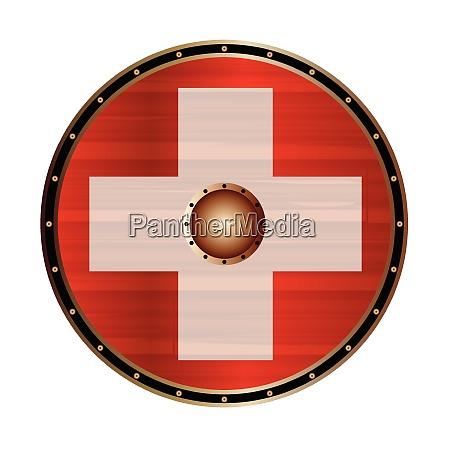 round viking shield with swiss flag