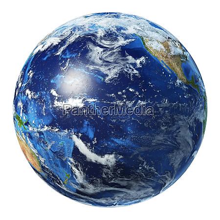 earth globe 3d illustration pacific ocean