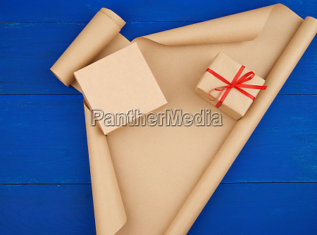 brown kraft paper packed gift boxes