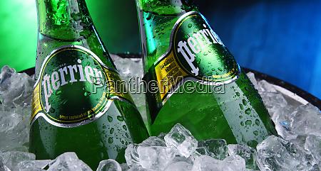 bottles of perrier mineral water
