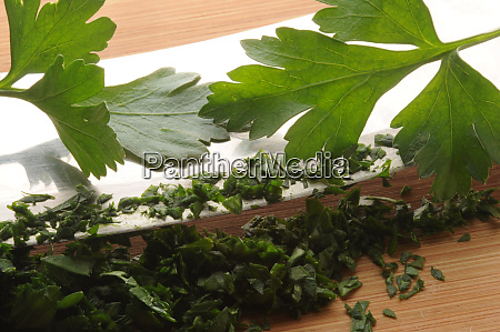 close up of chopped parsley with