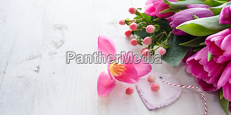 tulips with heart for mothers day