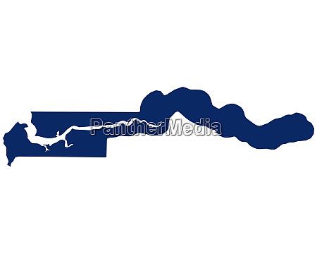 karte von gambia in blauer farbe