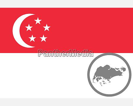 fahne und landkarte von singapur