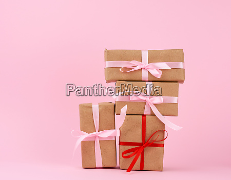 gift box paper brown on pink
