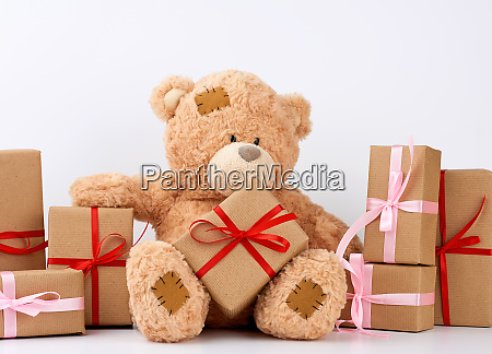 big, beige, teddy, bear, with, patches, - 27962516