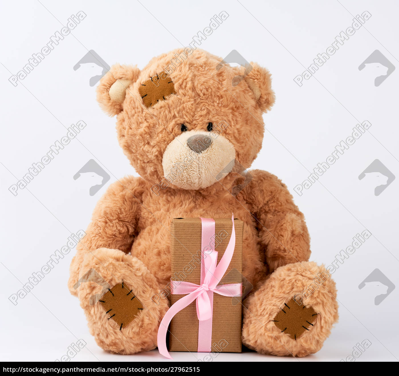big, beige, teddy, bear, with, patches - 27962515
