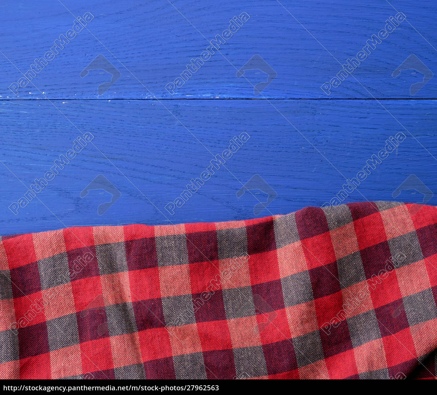 red, checkered, fabric, on, a, blue - 27962563