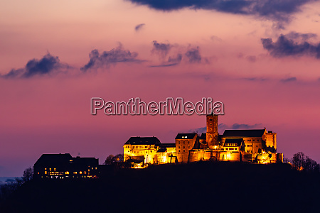 the wartburg castle at sunrise in